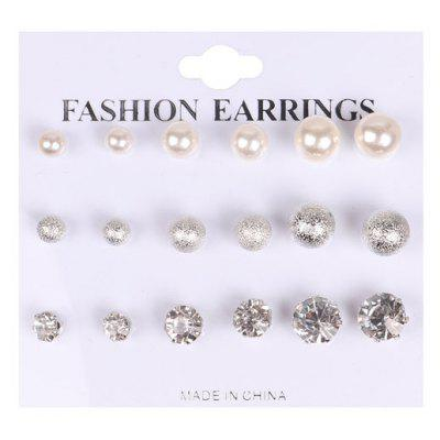 Buy SILVER Graduated Rhinestone Faux Pearl Stud Earring Set for $3.77 in GearBest store