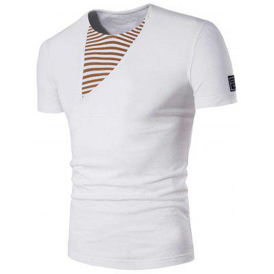 Striped Panel Patched Tee
