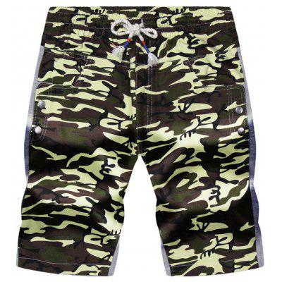 Buy ARMY GREEN CAMOUFLAGE 3XL Drawstring Color Block Panel Pockets Camouflage Shorts for $20.46 in GearBest store