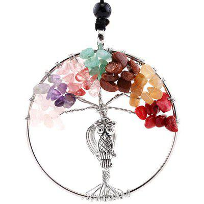 Buy MULTICOLOR Life Tree Faux Crystal Owl Engraved Necklace for $5.41 in GearBest store