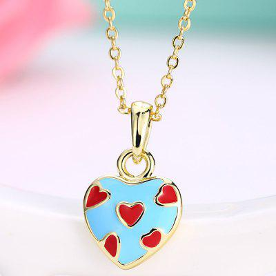 Buy BLUE Heart Design Pleted Pendant Necklace for $3.17 in GearBest store