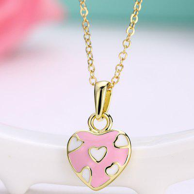 Buy PINK Heart Design Pleted Pendant Necklace for $3.17 in GearBest store