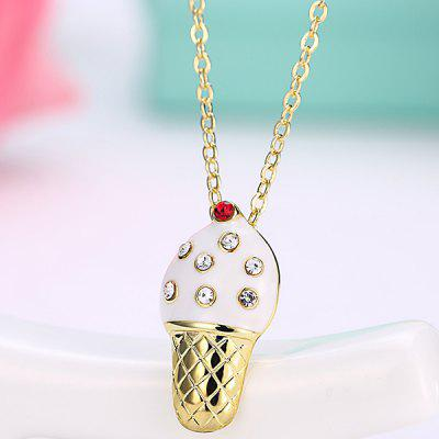 Buy WHITE Rhinestone Inlay Ice Cream Design Pendant Necklace for $3.20 in GearBest store