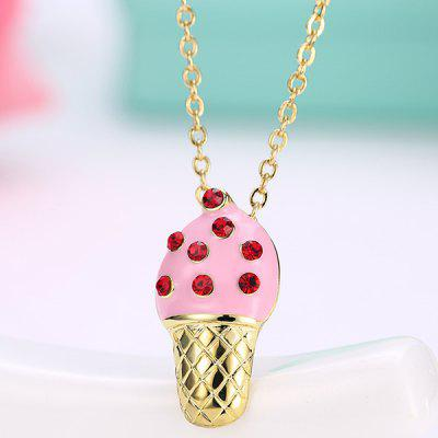 Buy PINK Rhinestone Inlay Ice Cream Design Pendant Necklace for $3.20 in GearBest store