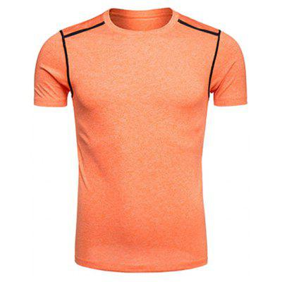 Buy ORANGE Crew Neck Selvedge Embellished Quick Dry Training T-shirt for $12.89 in GearBest store