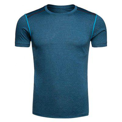 Buy DEEP BLUE Crew Neck Selvedge Embellished Quick Dry Training T-shirt for $12.89 in GearBest store
