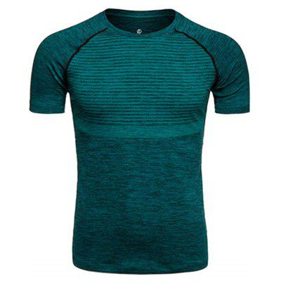 Buy BLACKISH GREEN Crew Neck Polka Dot Print Quick Dry Training T-shirt for $13.52 in GearBest store