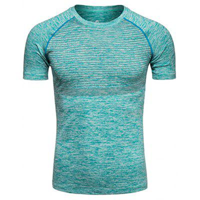 Buy LIGHT GREEN Crew Neck Polka Dot Print Quick Dry Training T-shirt for $13.52 in GearBest store