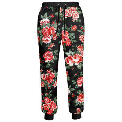 Buy COLORMIX Peony Printed Drawstring Jogger Pants for $26.34 in GearBest store