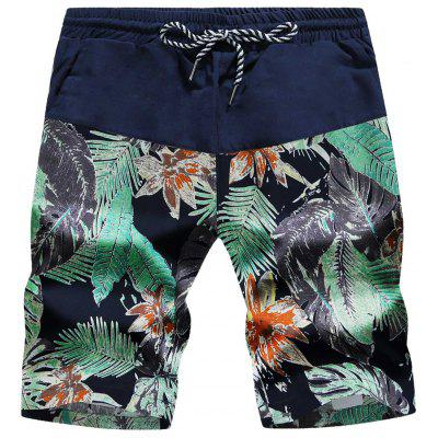 Drawstring Leaves and Floral Print Board Shorts