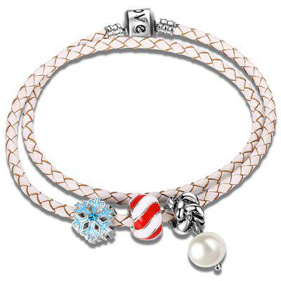 Snow Beaded Faux Leather Pearl Rope Bracelet