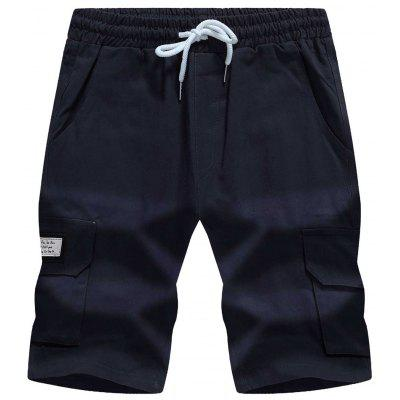 Drawstring Graphic Appliques Pockets Cargo Shorts