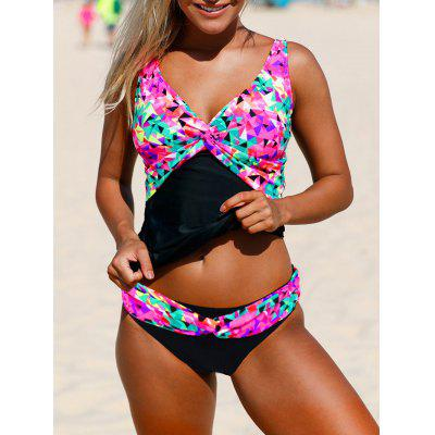 Multi Color V Neck Backless Tankini Set
