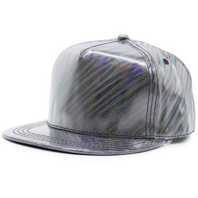 Flat Brim Reflective Striped Baseball Cap