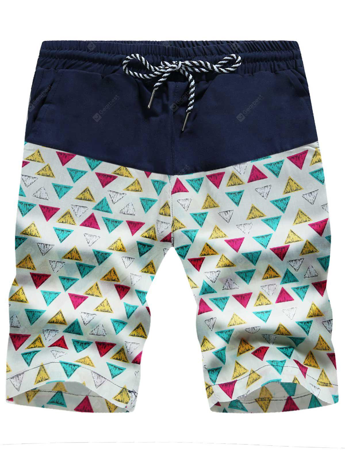 Drawstring Colorful Geometric Print Board Shorts