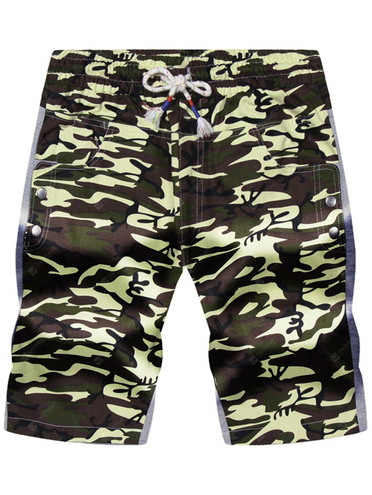 ARMY GREEN CAMOUFLAGE Drawstring Color Block Panel Pockets Camouflage Shorts