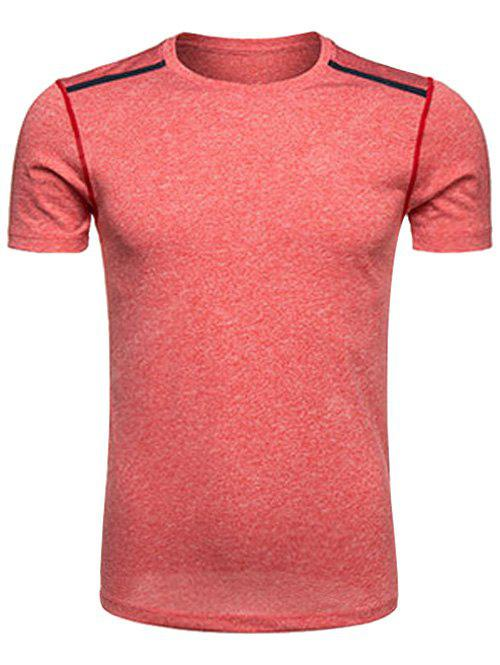 WATERMELON RED Crew Neck Selvedge Embellished Quick Dry Training T-shirt