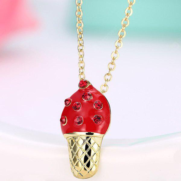 RED Rhinestone Inlay Ice Cream Design Pendant Necklace