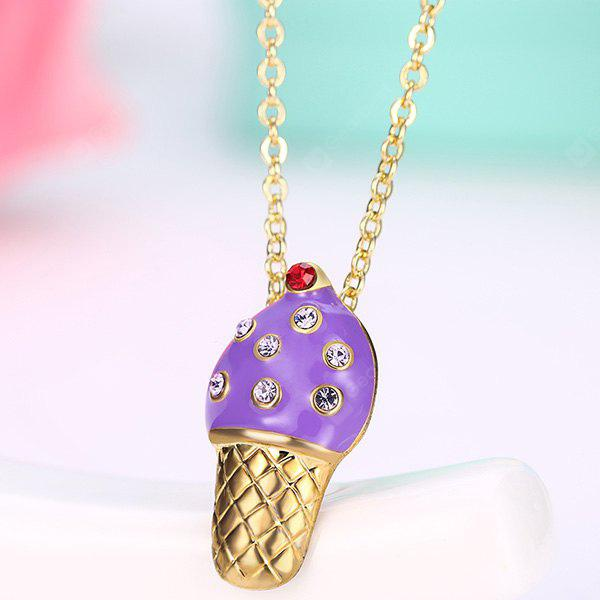 PURPLE Rhinestone Inlay Ice Cream Design Pendant Necklace