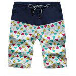Drawstring Colorful Geometric Print Board Shorts - TRIANGLE PATTERN