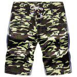 Drawstring Color Block Panel Pockets Camouflage Shorts - ARMY GREEN CAMOUFLAGE