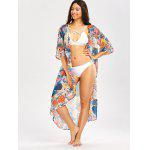 Beach Floral Print Longline Chiffon Cover Up - WHITE