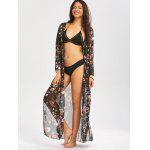 Drawstring Blumendruck Strand Maxi Cover Up - SCHWARZ