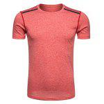 Crew Neck Selvedge Embellished Quick Dry Training T-shirt - WATERMELON RED