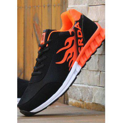 Buy BLACK AND ORANGE Breathable Tie Up Colour Block Athletic Shoes for $25.38 in GearBest store