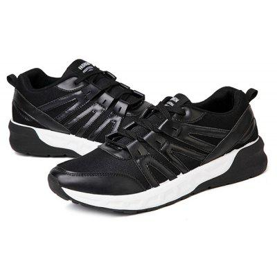 Lace-Up Mesh PU Spliced Athletic Shoes