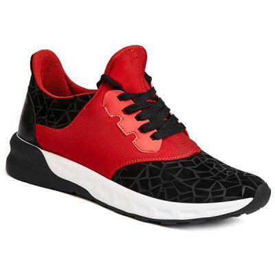 Lace-Up Geometric Print Flock Athletic Shoes