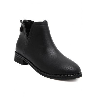 Back Zip PU Leather Ankle Boots