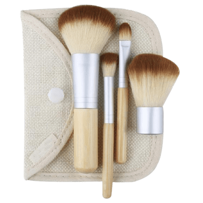 4Pcs Bamboo Facial Makeup Brushes Kit with Bag