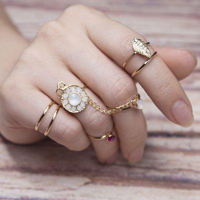 Rhinestone Leaf Slave Finger Ring Set