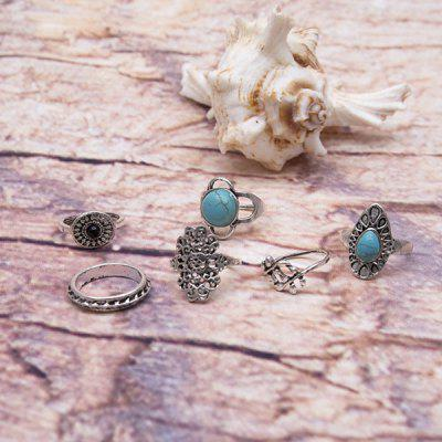 Vintage Faux Turquoise Oval Ring Set