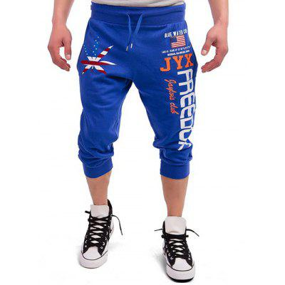 Buy ROYAL Drawstring Leaf Patriotic Graphic Print Cropped Joggers for $17.08 in GearBest store