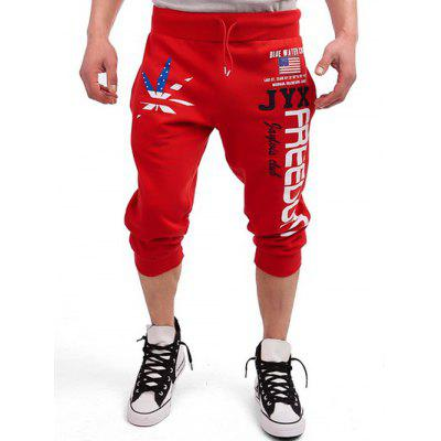 Buy RED Drawstring Leaf Patriotic Graphic Print Cropped Joggers for $17.08 in GearBest store