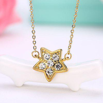 Buy GOLDEN Rhinestone Star Collarbone Pendant Necklace for $3.20 in GearBest store