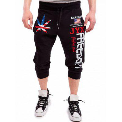 Buy BLACK Drawstring Leaf Patriotic Graphic Print Cropped Joggers for $17.08 in GearBest store