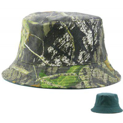 Camouflage and Pure Color Reversible Bucket Hat