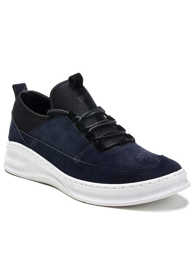 DEEP BLUE Stretch Fabric Suede Lace-Up Casual Shoes