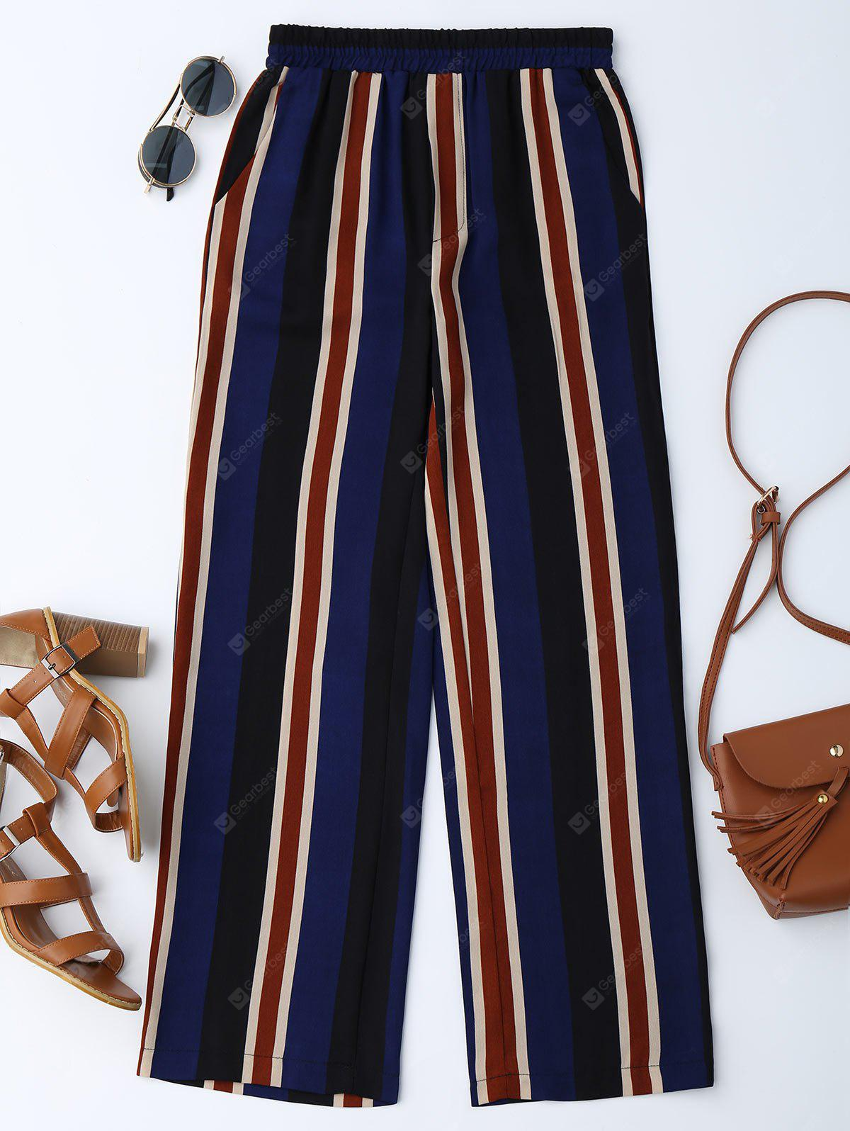 Stripes High Waisted Wide Leg Pants
