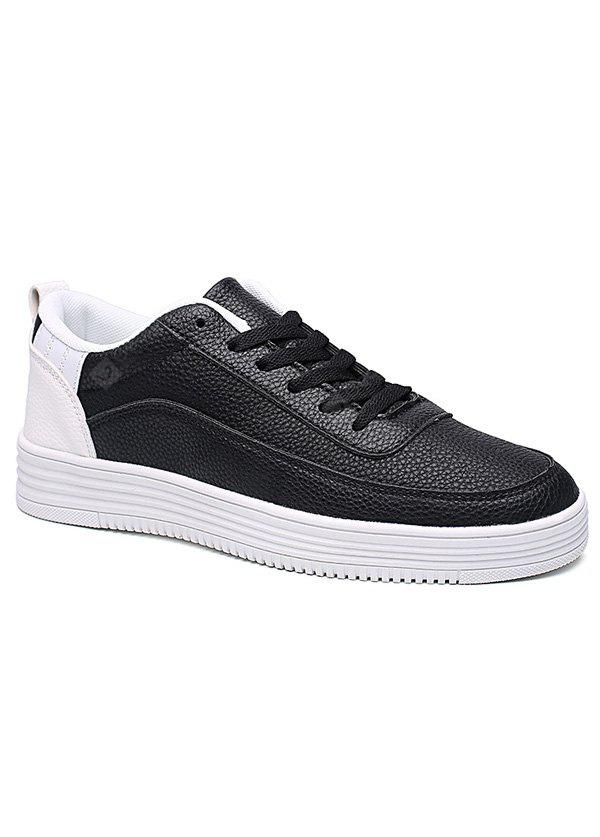 WHITE AND BLACK PU Leather Breathable Lace Up Casual Shoes