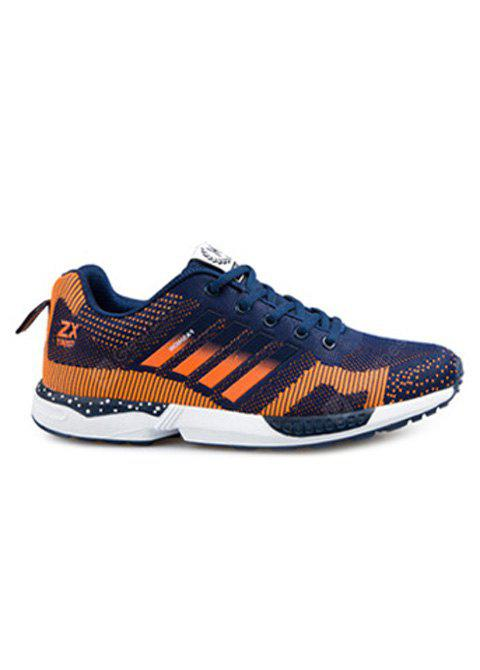 Breathable Color Spliced Tie Up Athletic Shoes