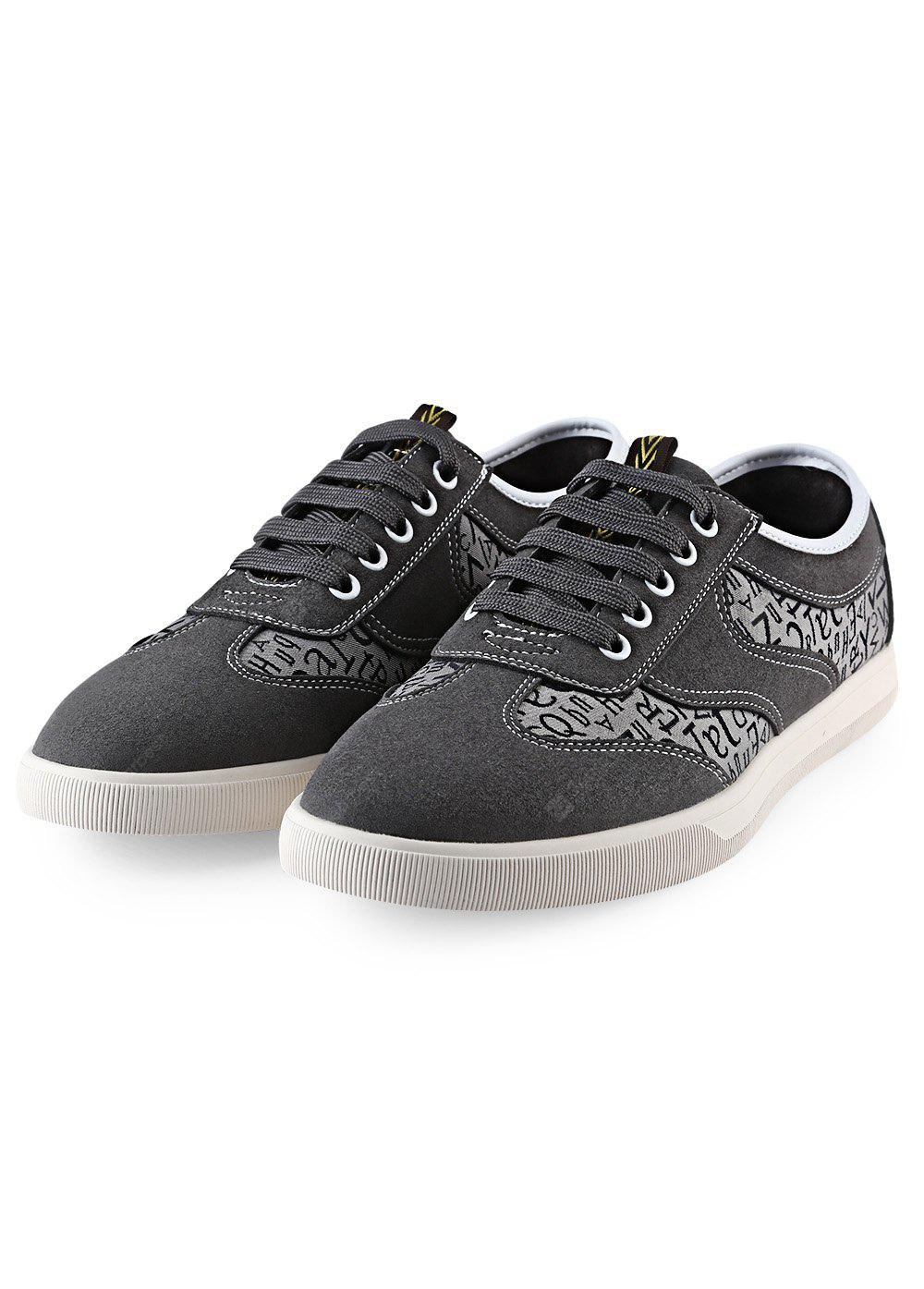 GRAY HLA Letter Print Nubuck Male Casual Shoes