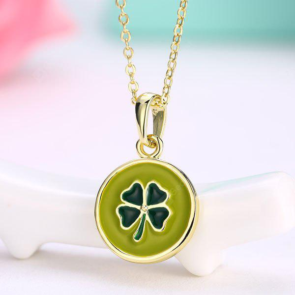 GREEN Round Engraved Clover Collarbone Pendant Necklace