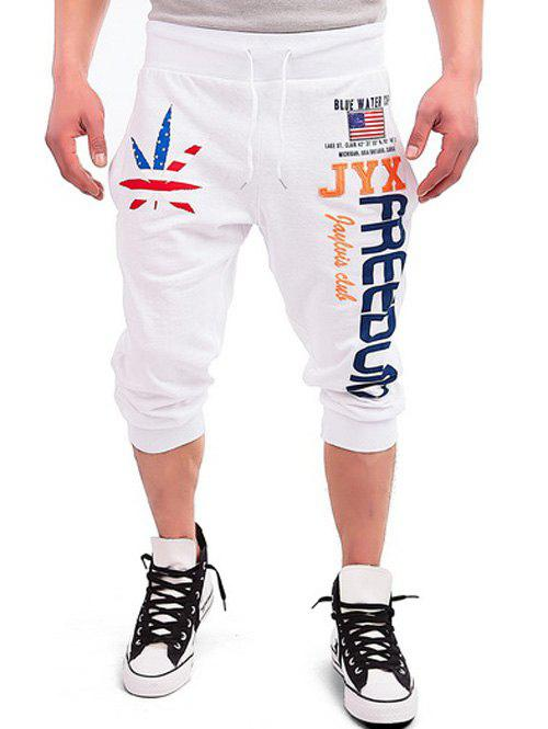 WHITE Drawstring Leaf Patriotic Graphic Print Cropped Joggers