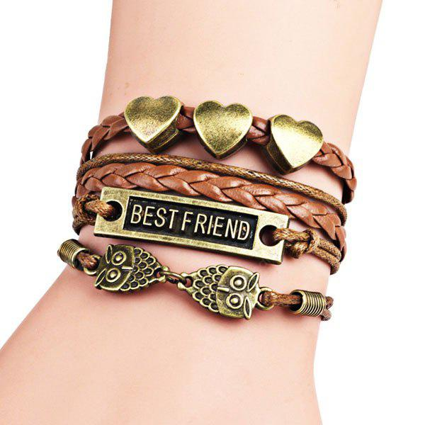 Best Friend Heart Owl Braid Bracelet