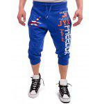Drawstring Leaf Patriotic Graphic Print Cropped Joggers - ROYAL