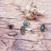 Vintage Faux Turquoise Oval Ring Set - SILVER